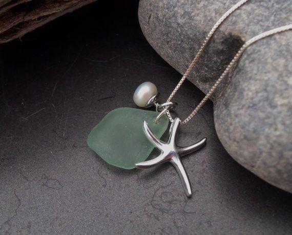 Sea glass jewelry  Aqua Green sea glass by FatCatsOnTheBeach, $53.00
