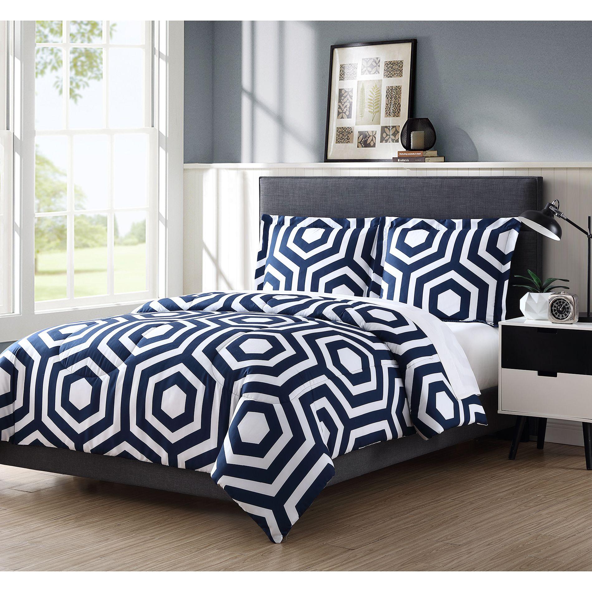 Colormate Microfiber Comforter Set Arcadia Navy/White