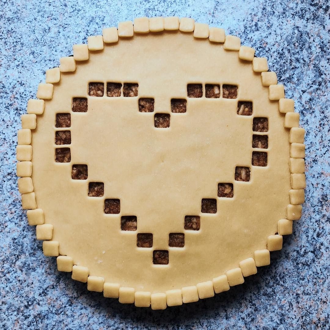 Apple Love Pie With Square Pixel Cutout Heart And Applied