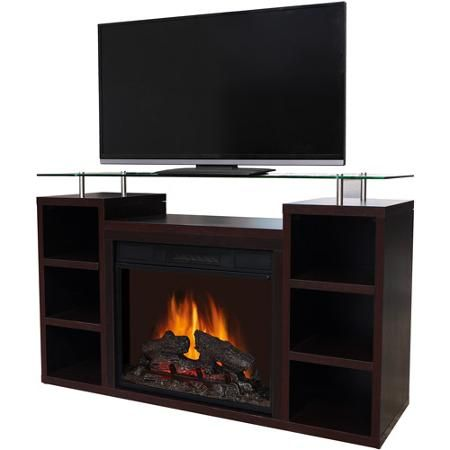 Decor Flame Media Electric Fireplace For Tvs Up To 42 Dark Walnut