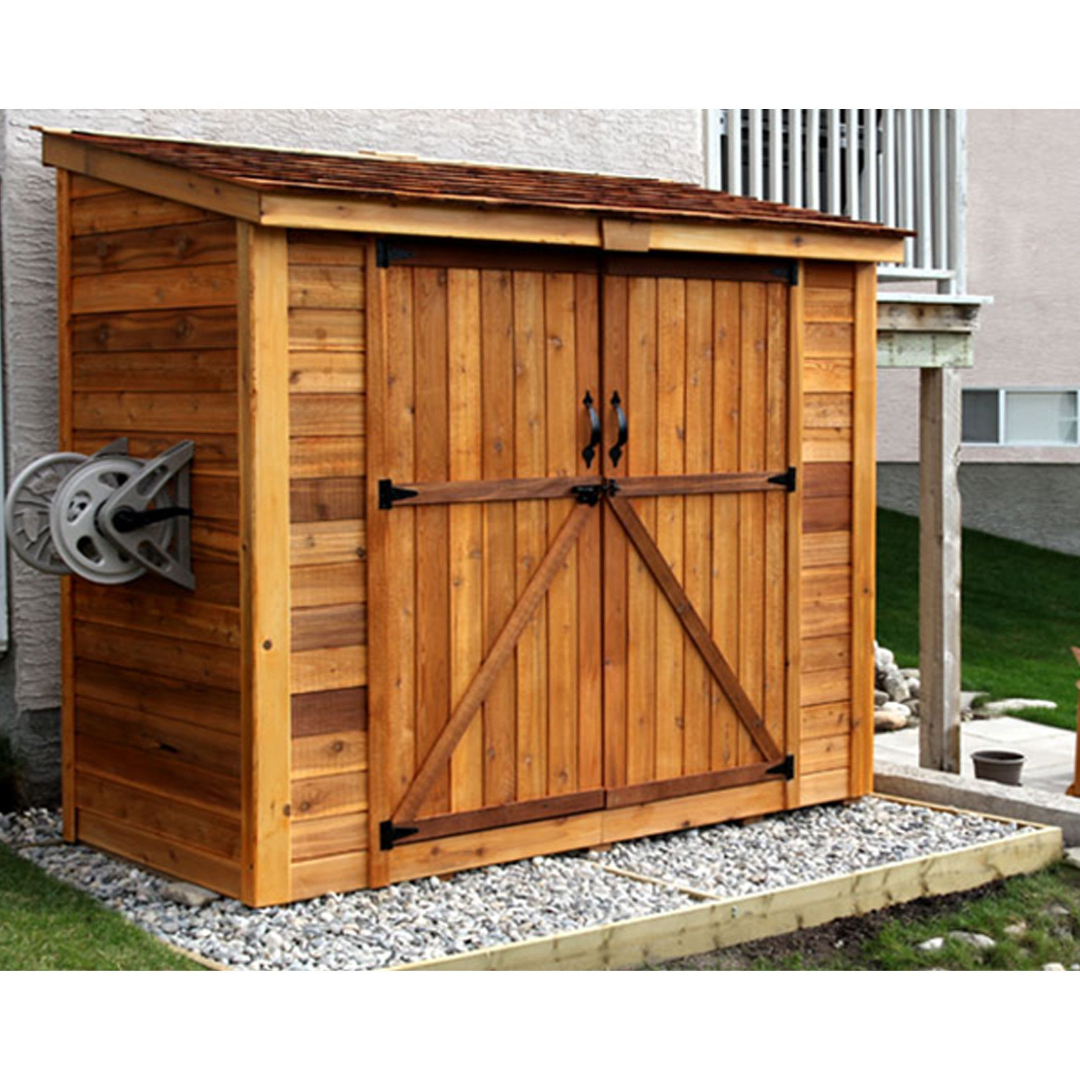 Outdoor living today spacesaver 8 ft w x 4 ft d garden for Exterior shed doors design