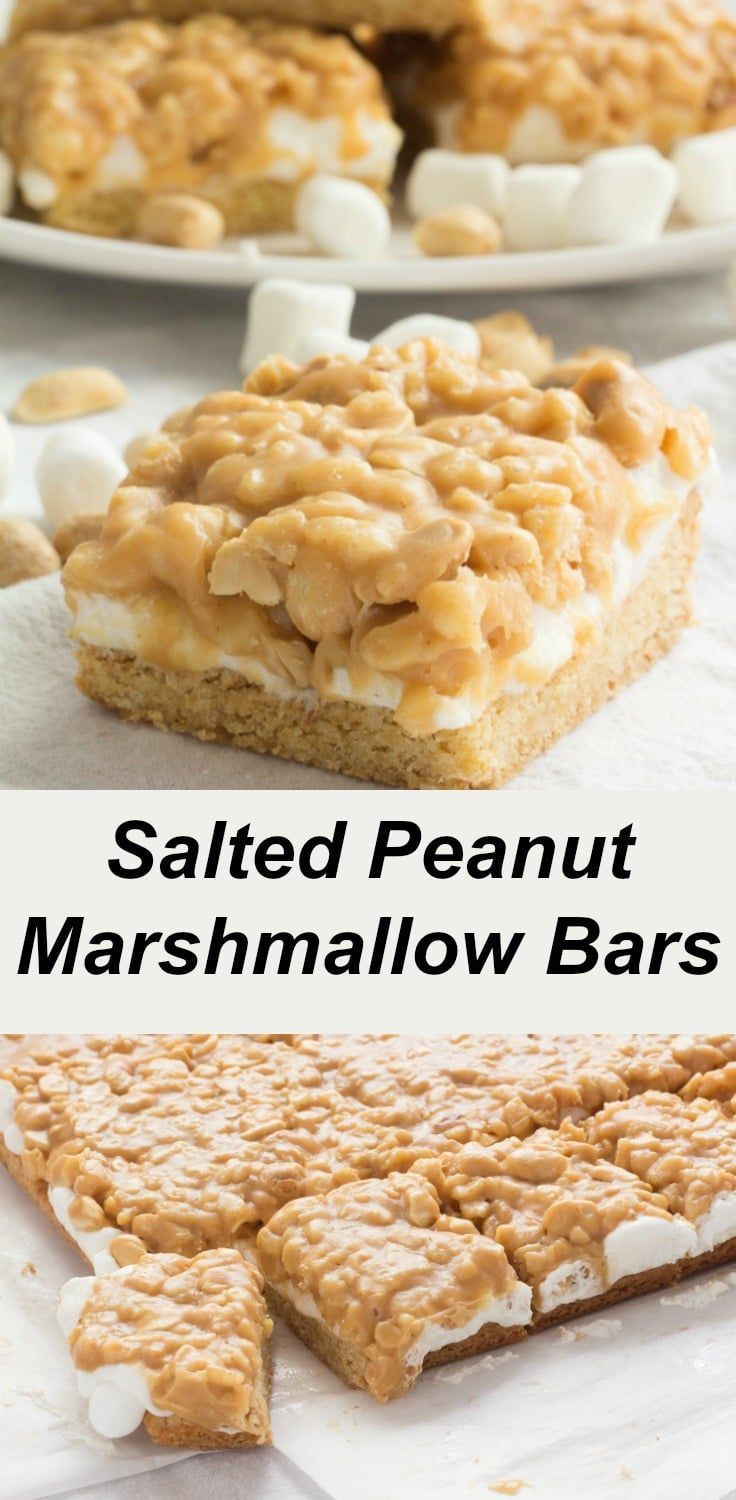 Recipe for Salted Peanut Marshmallow Bars. Easy to make and tastes similar to Payday Candy Bars.  Great for afternoon snacks and lunchbox treats!  #recipes #dessert #beginner #easy #peanutbutter #marshmallows #lunchbox via @peartreechefs #marshmallowtreats