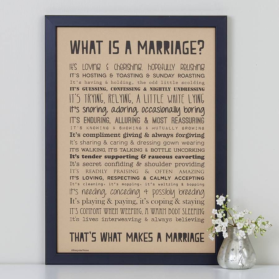 'what Is A Marriage' Poem Print Vintage Style By Bespoke