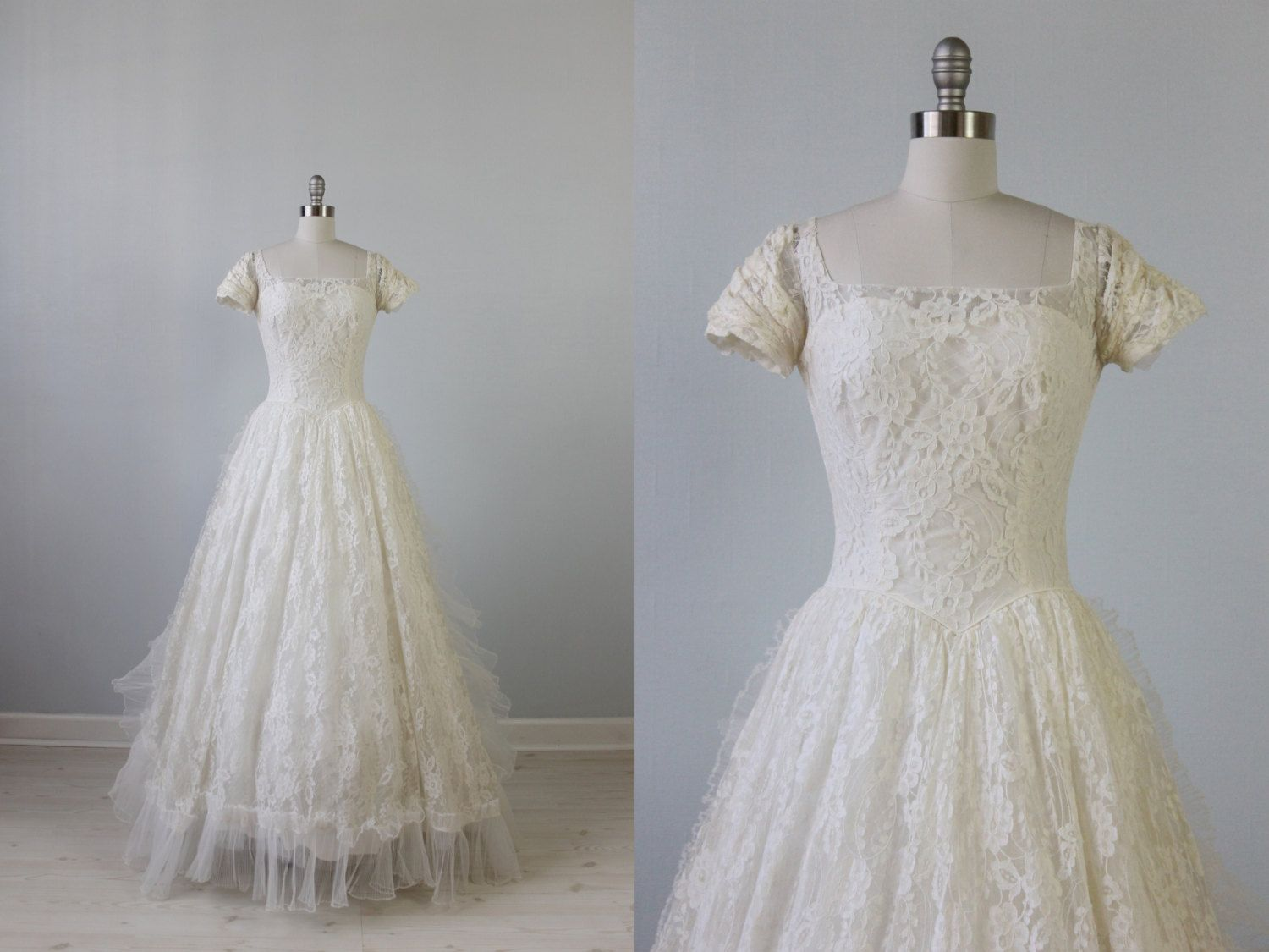 1950s Wedding Dress / 50s Bridal Gown / 50s Lace Dress / Camille ...