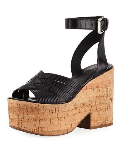 Belle by Sigerson Morrison Woman Becca Leather Platform Sandals Size 10 tcJaf