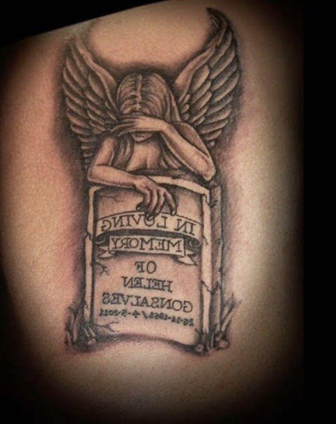 Tattoos image by Q   Angel tattoo designs, Grandma tattoos ...