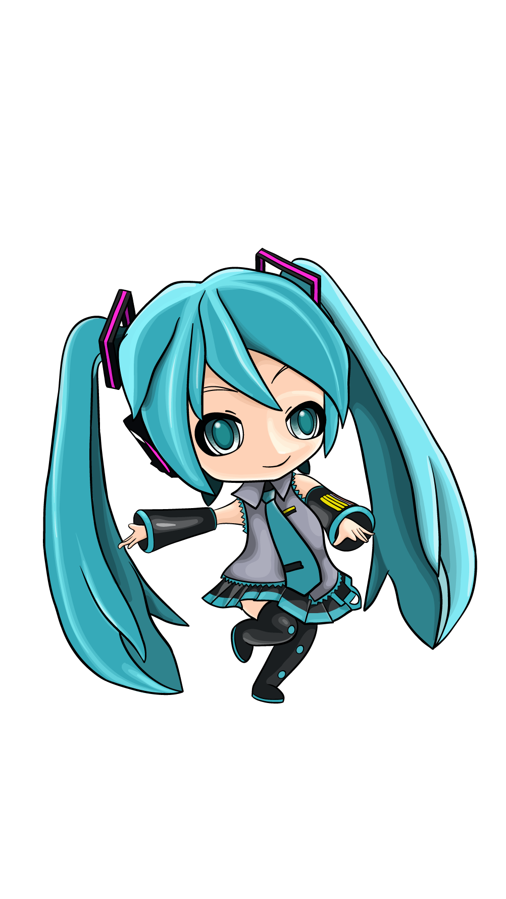 Hatsune Miku Anime A Great Step By Step Tutorial With Only Thirteen Steps So Easy And Prepared For All Beginners Htt Hatsune Miku Anime Anime Anime Character