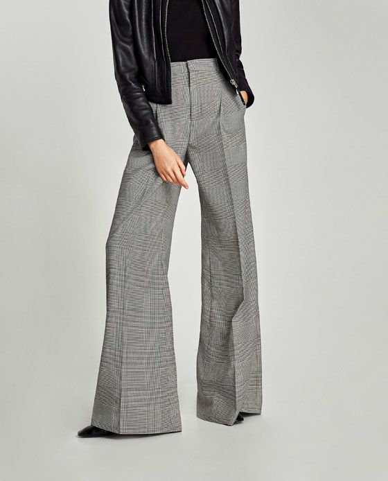 831275790ba Image 2 of CHECKED WIDE-LEG TROUSERS from Zara