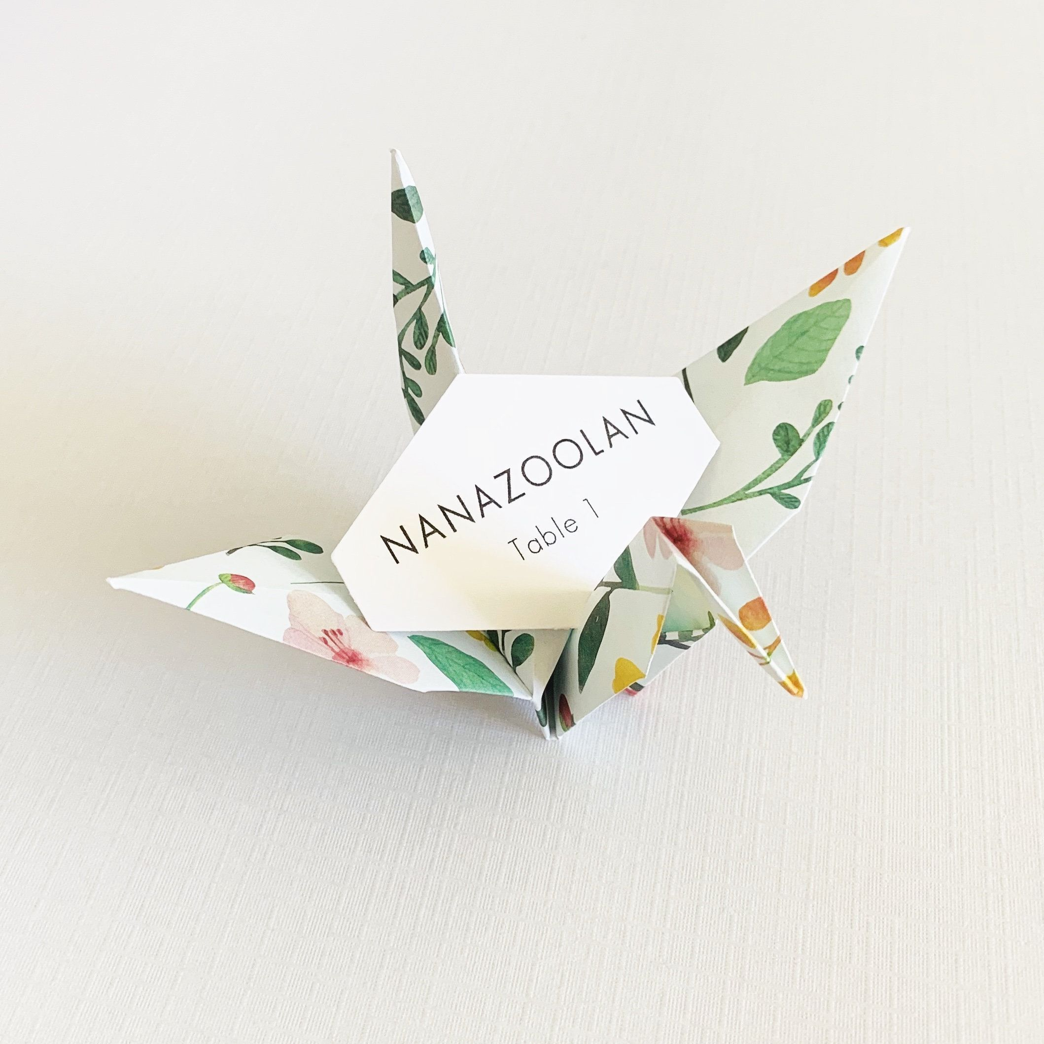 Flower blossoms origami crane guest name placecards spring