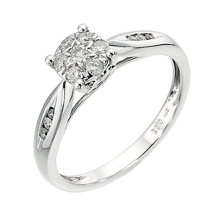 9ct white gold 0.25ct diamond cluster ring - Product ...