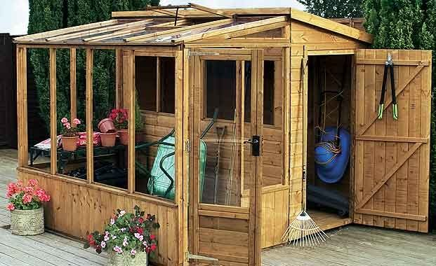 Great small greenhouse/shed combo!