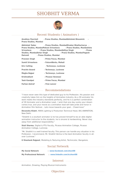 Resume Format 3D Animator ResumeFormat