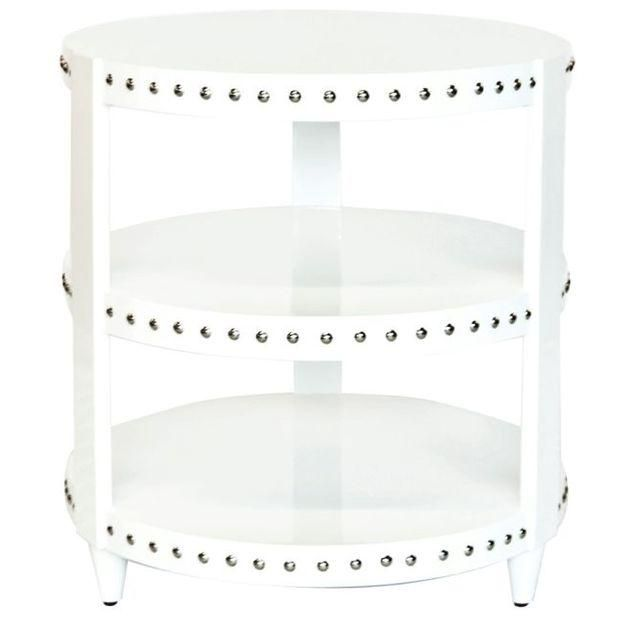 Image Of White Lacquer Studded Side Table White Side Tables