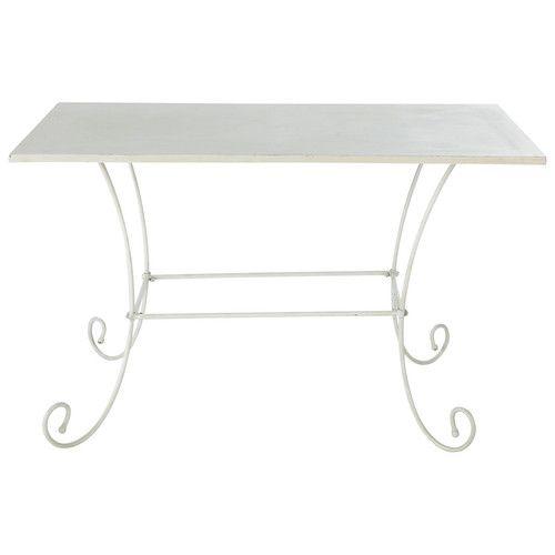 Table de jardin en métal et fer forgé ivoire L 125 cm Jardin