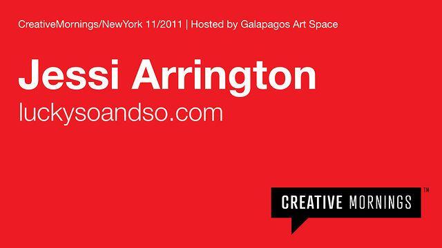 {Such an inspiring talk via @swissmiss} 2011/11 Jessi Arrington. Video by CreativeMornings.