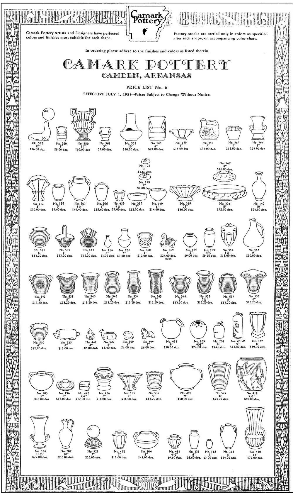 Camark Pottery price guide, Pattern, Values, ID, and Numbers