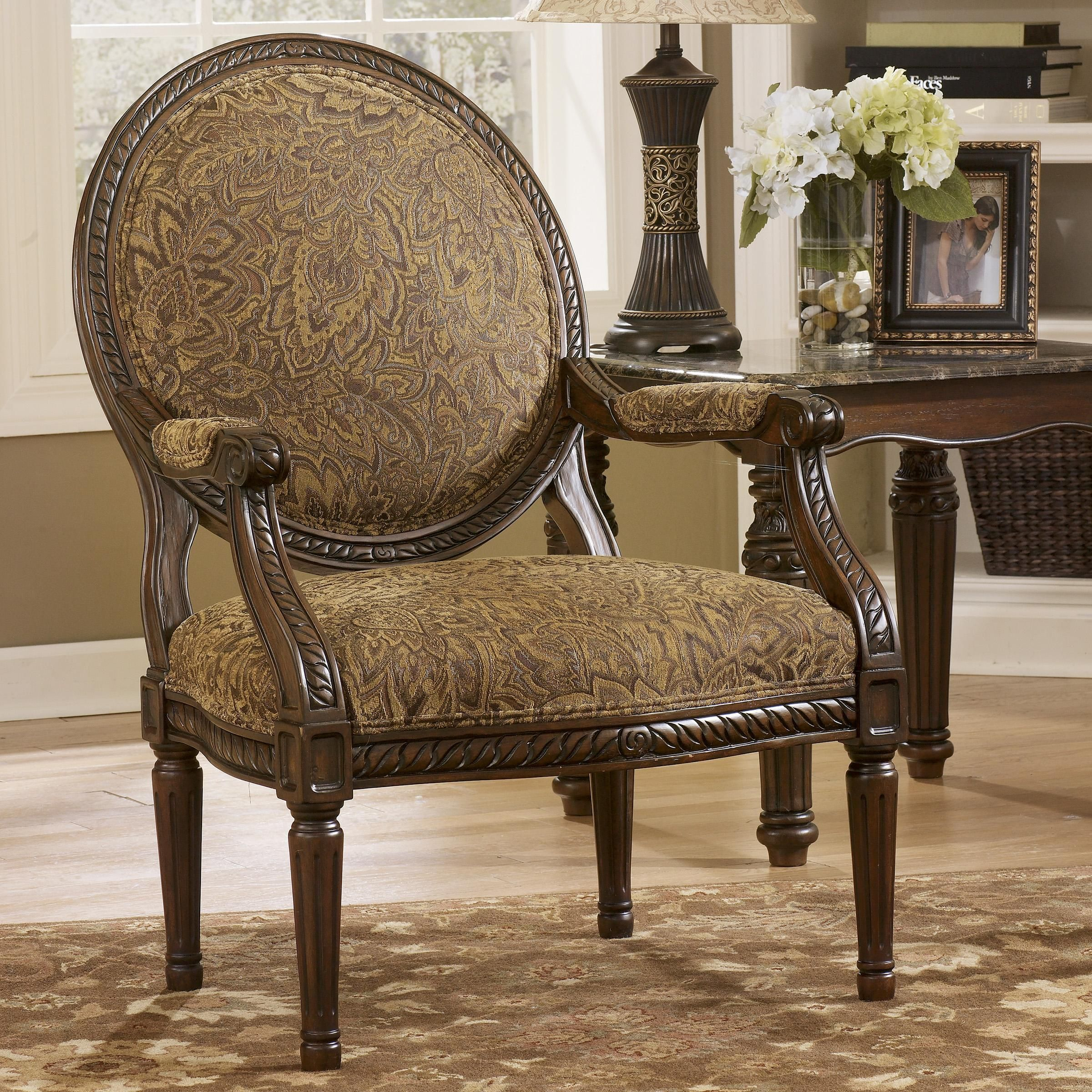 Traditional accent chairs - Cambridge Amber Traditional Exposed Wood Accent Chair By Signature Design By Ashley Nassau Furniture