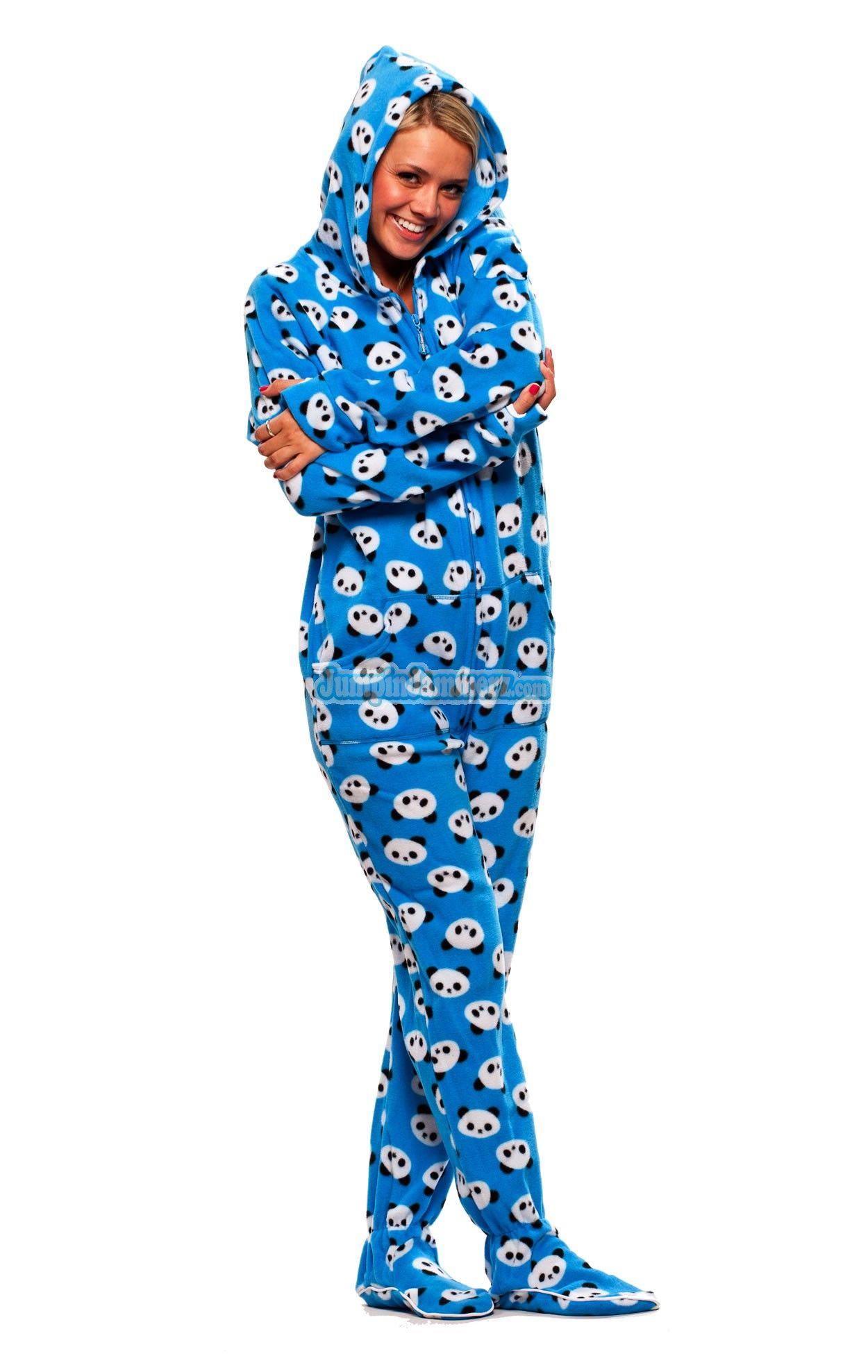 9f8bc74c17b Panda Bears Hooded Footed Pajamas features Thumb holes