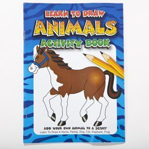 "Learn To Draw Animals Activity Books by Century Novelty. $5.95. Stationery Supplies and More! Fill your goody bags with stationery and fun school supplies. Get the coolest pens, crayons and notebooks to make school fun! 24 activity books per package. 7"" long and 5"" wide. Learn to draw a horse, panda, dog, cat, elephant and frog. Stationery supplies also make great give a ways and prizes. No matter what your event, we have stationery supplies to compliment it. Be sure t..."