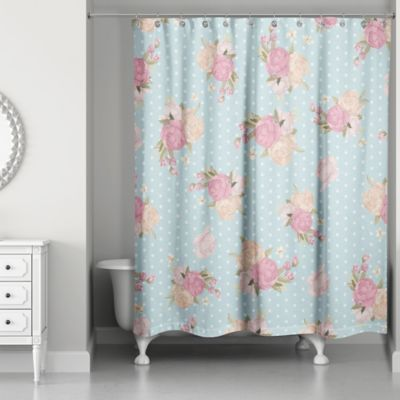 Designs Direct Floral Dot Shower Curtain In Blue Pink Blue