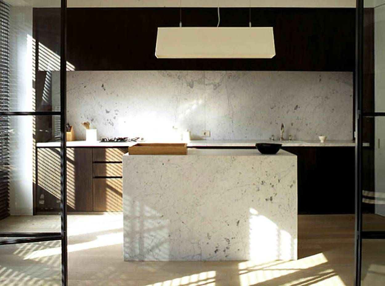 Contemporary Kitchen Black Cabinets White Marble Island