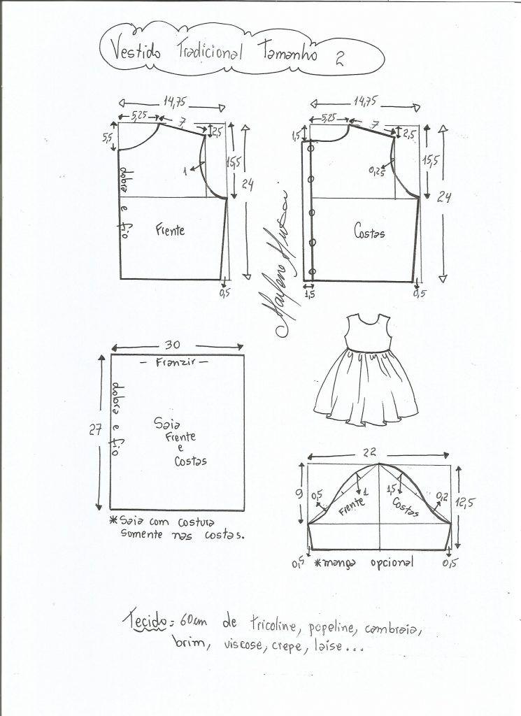 6f54fe1f997eab Esquema de modelagem de vestido tradicional tamanho 2 anos ...