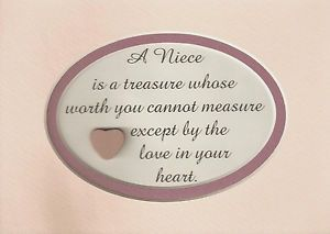 Love Plaques Quotes Classy Niece Is Treasure Love In Heart Friend Family Measure Worth Verses