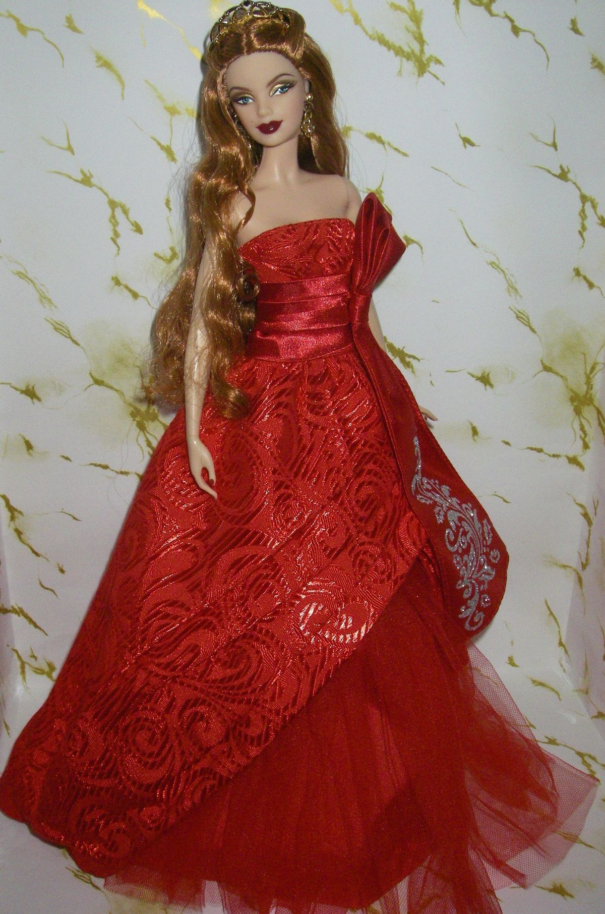 EVENING W ~ DRESS ~ MODEL MUSE BARBIE DOLL HOLIDAY RED GOLD TULLE RIBBON GOWN