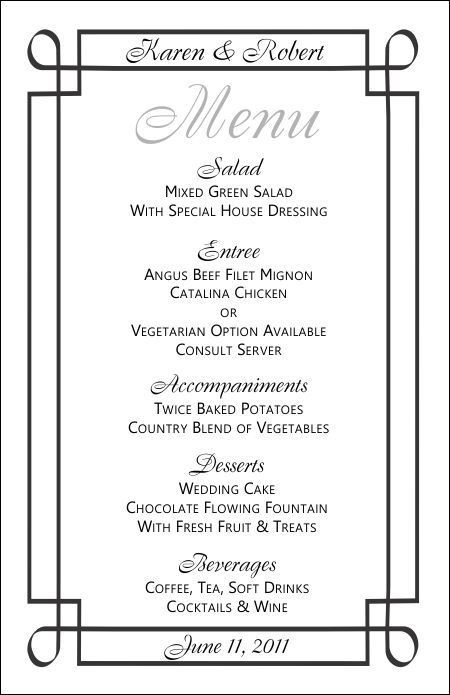 Wedding Menu Template   Gym    Wedding Menu Template