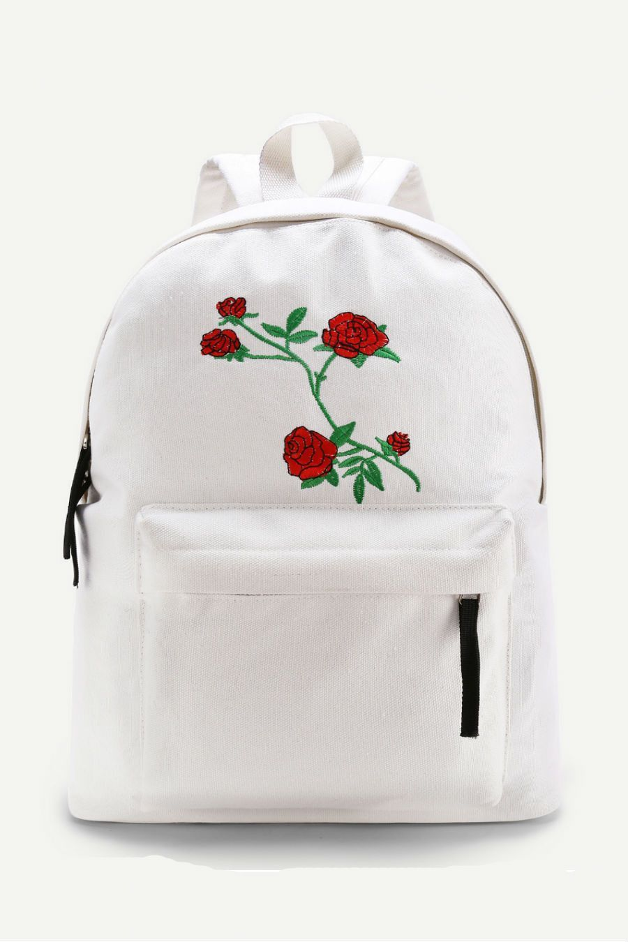 0408e391e6f3 White Flower Embroidery Canvas Backpack | Products | Canvas backpack ...