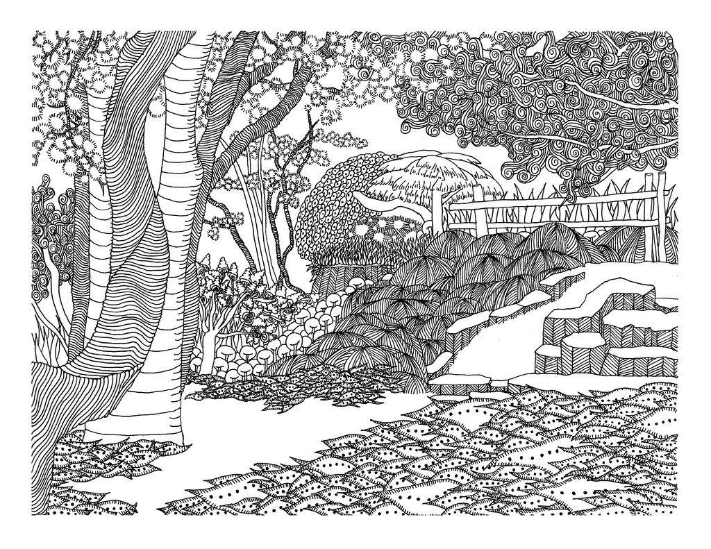 Japanese Garden By Vlacruzdeviantart On DeviantART Coloring BookAdult