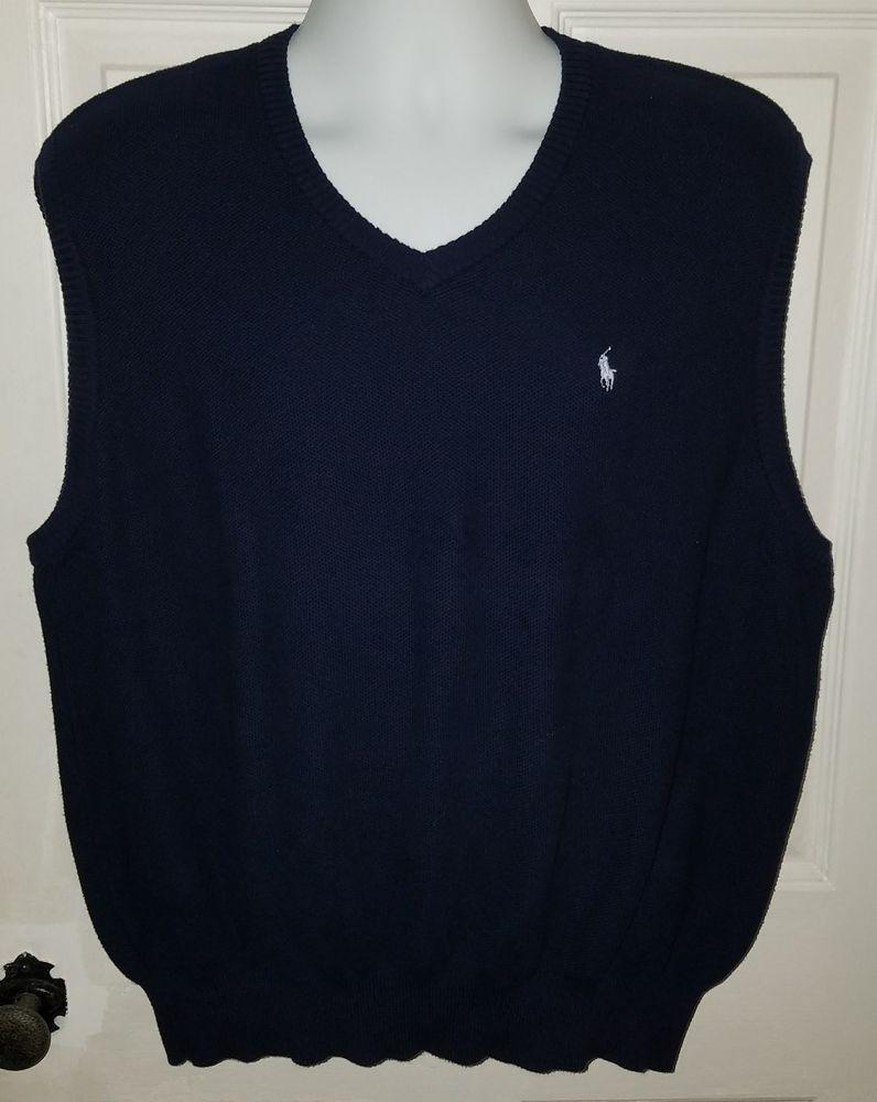 Men's Ralph Lauren POLO GOLF 100% Cotton Navy Blue Knit Sweater ...