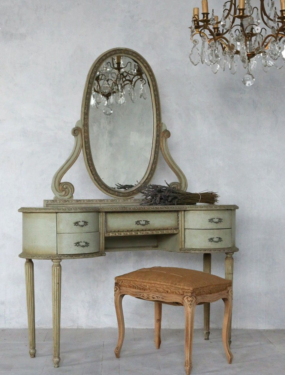 vintage French | Vintage French Style Louis XVI Shabby Sea Green & Gilt  Vanity - Vintage - Antique French Vanity Antique Furniture