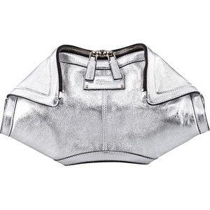 De-Manta Metallic Leather Clutch Bag, Silver - Alexander McQ ...