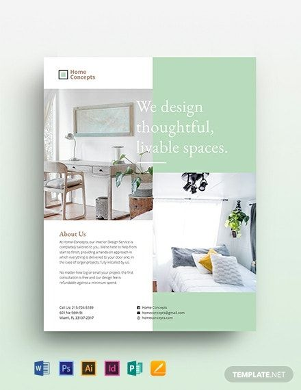 Interior Design Flyer Template [Free PDF] Word PSD InDesign Apple Pages Google Docs Illustrator