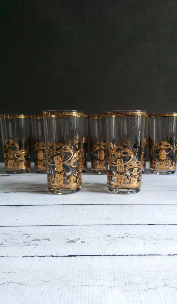 7970542425cf Culver Glassware Mid Century Barware  Culver Gold Mushroom Glasses ...