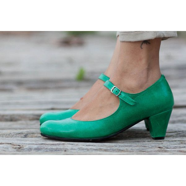 Green Leather Shoes Green Pumps Heeled Leather Pumps High Heel Shoes ($125) ❤ liked on Polyvore featuring shoes, pumps, grey, women's shoes, grey leather shoes, gray shoes, green shoes, green high heel pumps and green leather shoes