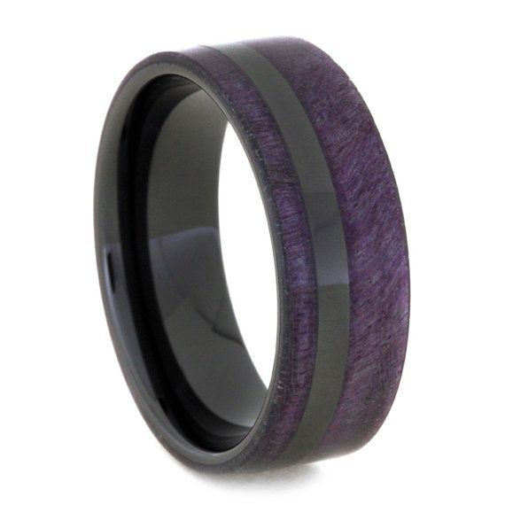 Purple Wedding Band With Black Ceramic Sleeve And Pinstripe Box Elder Burl Wood Ring For Men Or Women