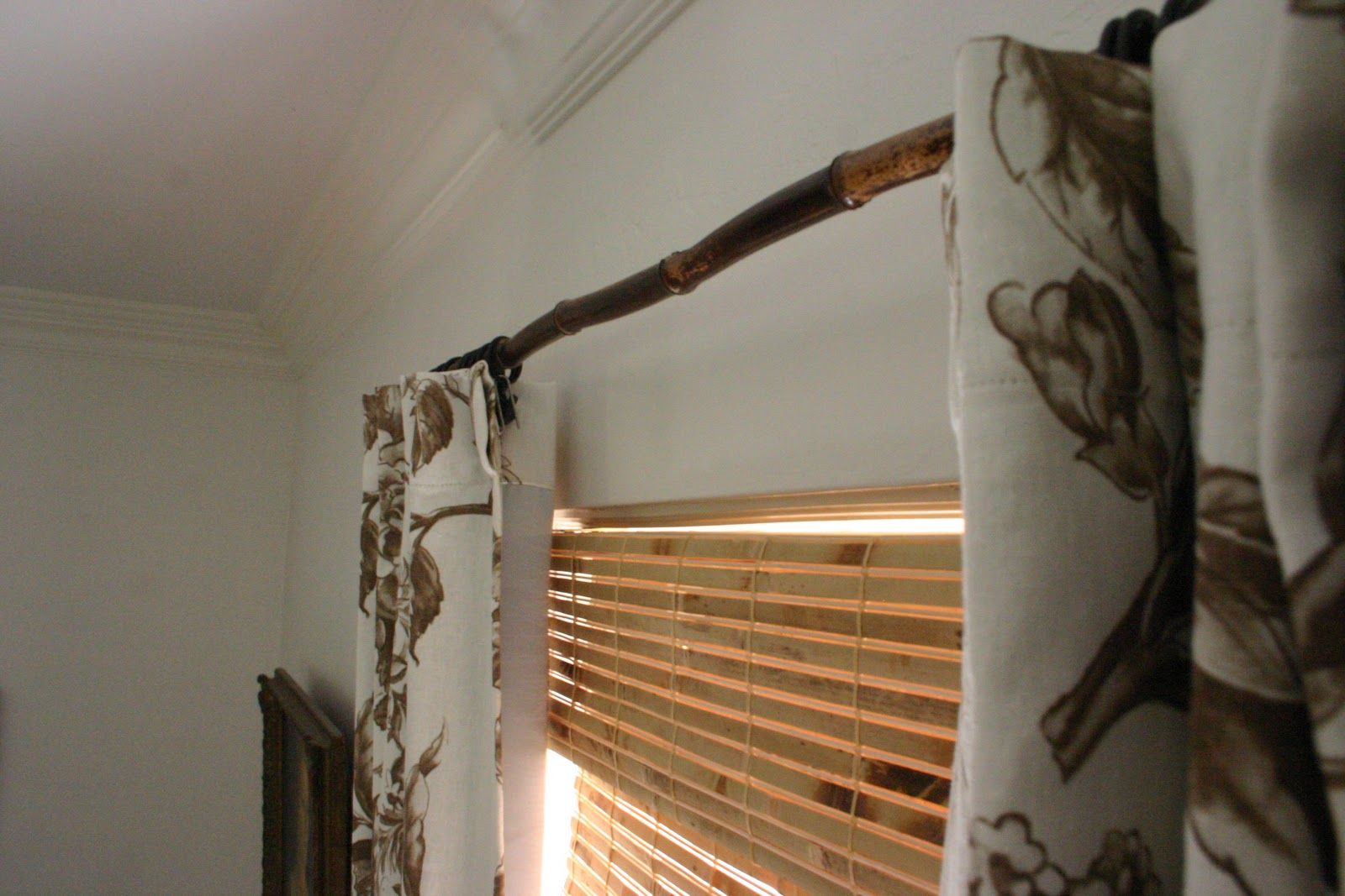 Tree branch curtain rods - Bamboo Drapery Rod Repurpose Recycle Reuse Creative Ideas