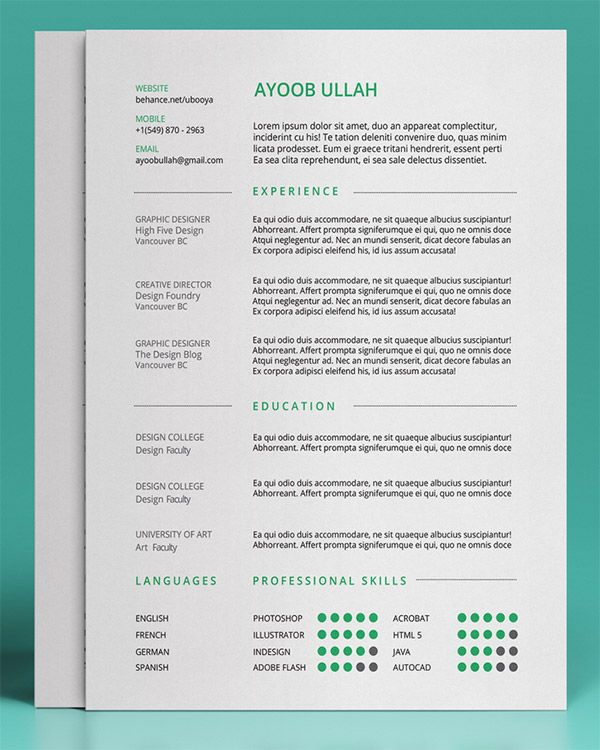 20 Free Editable CV\/Resume Templates for PS \ AI Template, Cv - resume font size