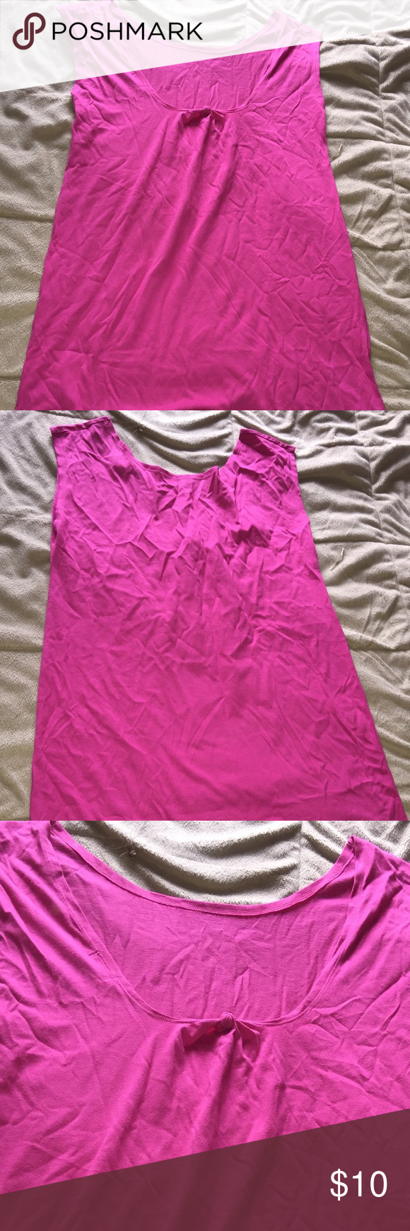 Pink knotted tank Solid pink tank. Never been worn! NWOT. Tops Tank Tops