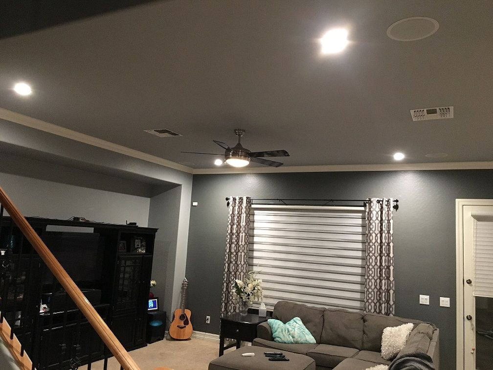 AZ Recessed Lighting Living Room Installation Of LED Lights, Ceiling Fan  And Speakers. AZ Part 80