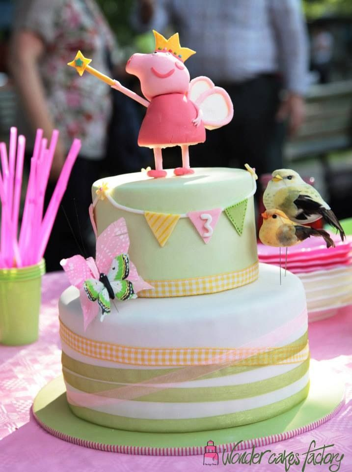 Peppa Pig birthday cake for twin girls turning three years old