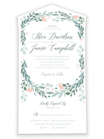 """Garden Glamour"" - Customizable All-in-one Wedding Invitations in Green by Kristen Smith."