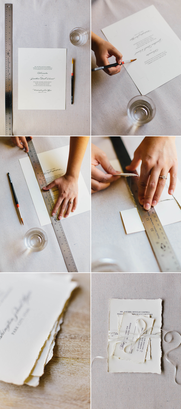 Diy faux deckled edge paper water wedding and calligraphy