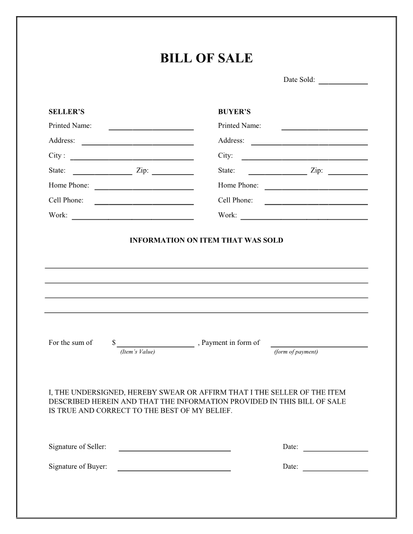 bill of sale blank form - Selo.l-ink.co