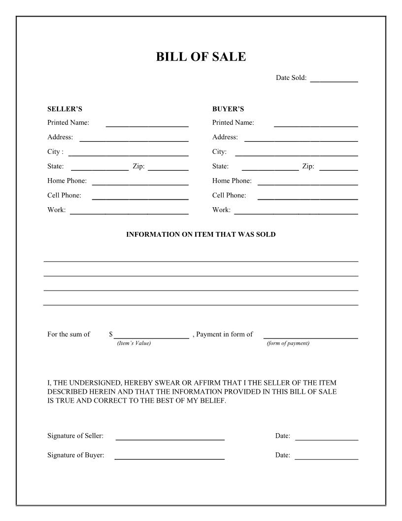 Free General Bill Of Sale Form Download Pdf Word Bill