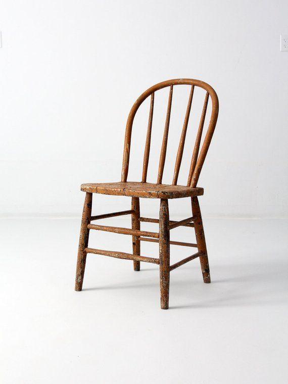 Primitive Farmhouse Chair Antique Spindle Back Windsor Chair Farmhouse Chairs Chair Antiques