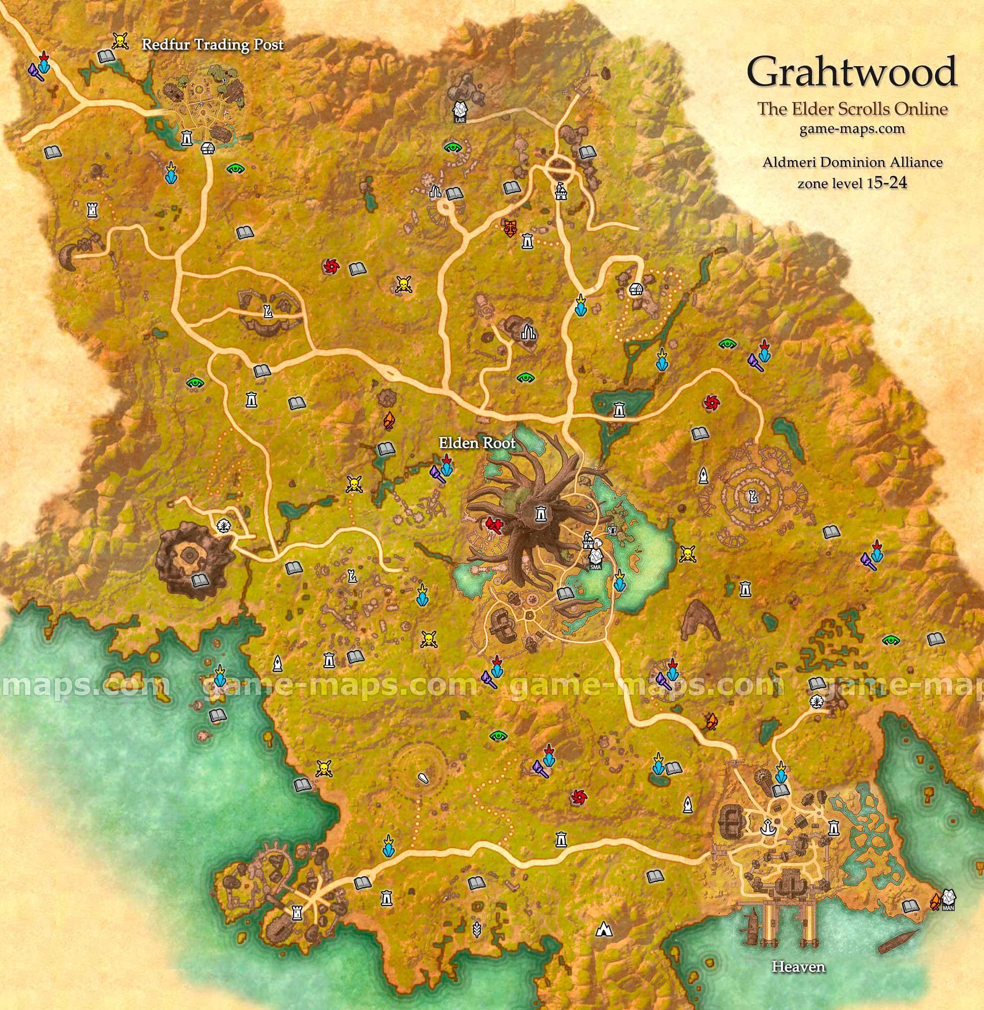 Grahtwood zone map. Heaven, Elden Root, Redfur Trading Post. Heart ...