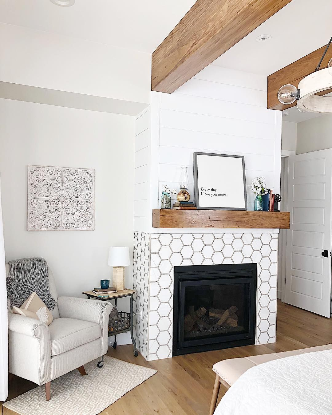 Tiffany Gowler Matt On Instagram Our Personal Master Bedroom Is The Smallest Master Bedroom We Have Ever Small Master Bedroom Simple Fireplace Cozy Room